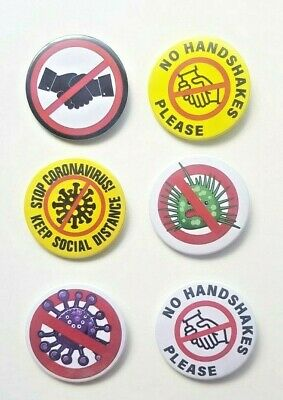 "Badge Button Set 57mm 2 1/4"" stop the virus spread no handshakes covid"
