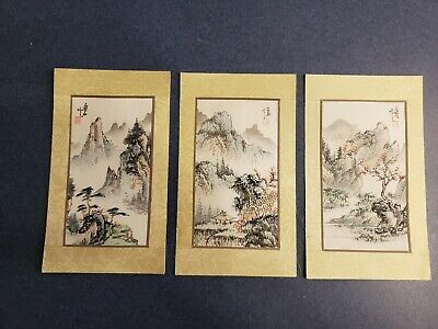Three Antique Vintage Chinese Or Japanese Signed Paintings On Silk