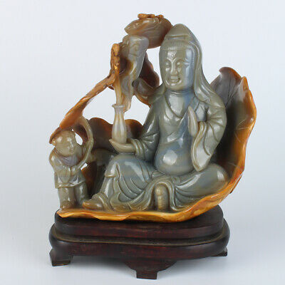 chinese antique carved natural agate guanyin statue and wood base