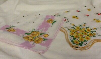 2 Vintage lady hankies floral design