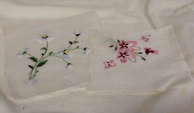 2 Vintage lady hankies embroidered floral design