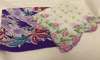 2 Vintage lady hankies purple floral design