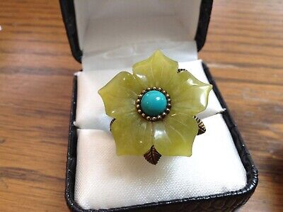 Echo Of The Dreamer Sterling Bronze Carved Jade Turquoise Flower Ring 5.75