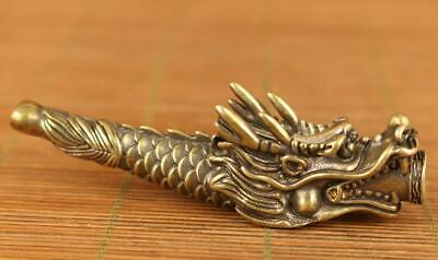 chinese old copper hand carved dragon statue pipe smoking tool /Ta02A