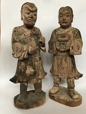 Ming Dynasty Wooden Buddhist Votive Figures Of Two Acolytes Of Guanyin