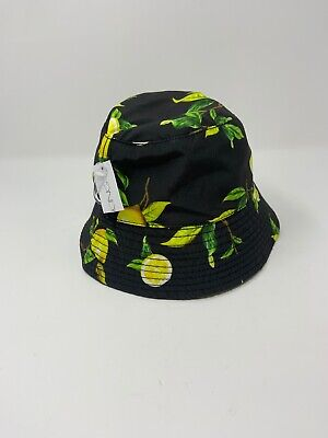 CLAIRES/ICINGS bucket Hat With Lemons Black/yellow/green