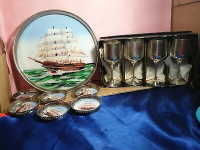 Vintage Art Deco  c1950s  tray and coasters plus strachan wine goblets
