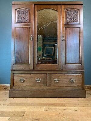 Antique Wardrobe / Edwardian Wardrobe / Mahogany Wardrobe / Bedroom Storage /