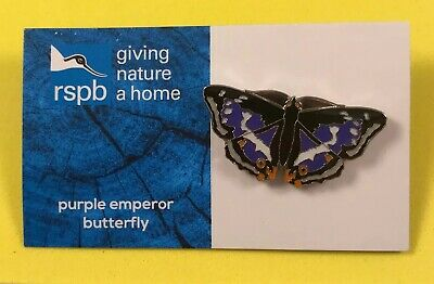 RSPB GNaH Pin Badge On Blue Card - Purple Emperor Butterfly