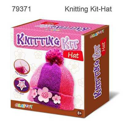 Beanie Hat Knitting Kit with wool, pre-cut fabric, knitting needles and more
