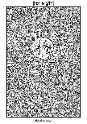 """DOODLE POSTER """"Little Girl"""" - Massive A1 (84cm x 59cm) Colouring In Poster"""