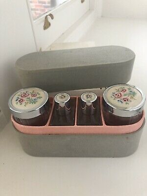 Vintage Ladies 'Two Tix' Travelling Grooming Case, Made In England