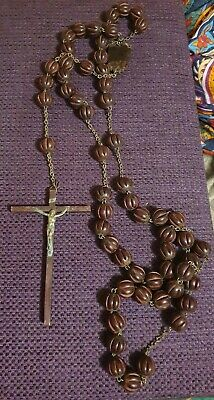 Large  Wooden  Carved  Beaded Rosary with Crucifix