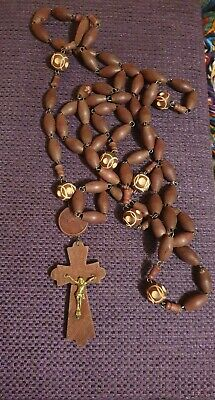 Large Vintage Wooden  Carved  Beaded Rosary with Crucifix