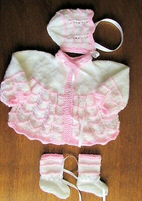 baby pink and white matinee set new 0 to 3 months hand knitted coat hat booties