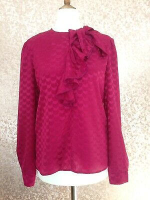 Vintage 80s Art Deco 20s 30s 40s Ruffle Bow Blouse Downton Peaky Blinders Sz 10