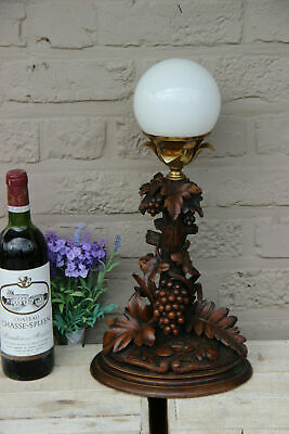 Rare Antique Swiss black forest wood carved table lamp Grape tree floral