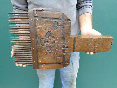 HUGE Primitive Antique Hand Made Flax Comb Hatchel Carved Wood Forged Iron AAFA