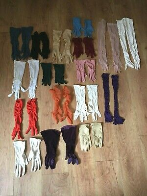Lot Of 17 Pairs Ladies Vintage Gloves
