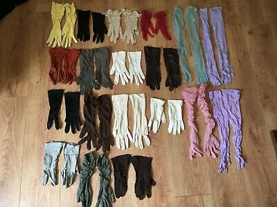 Lot Of 19 Pairs Ladies Vintage Gloves