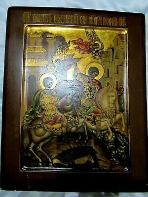 Old Antique Russian Icon Dmitry Solunsky and St. George
