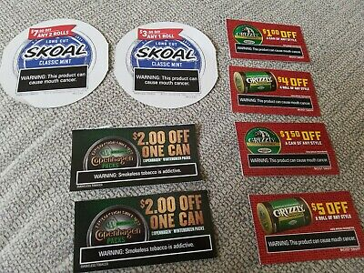 Skoal, Grizzly, Copenhagen Coupons $25.50 Worth!! :)