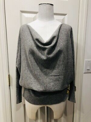 EILEEN FISHER Luxurious Heather Gray Cashmere Cowl Neck Sweater Top, Size Small