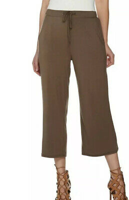H by Halston Size 16 Women's Pull-on Crop Wide Leg Pants with Self-Tie Earth New