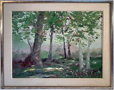 Listed Artist Stokely Webster (1912-2001) Signed Oil On Canvas Painting Birches