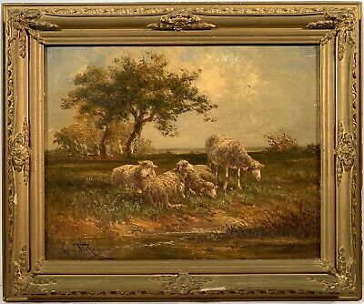 Listed Artist Hugo Anton Fisher (1864-1916) Signed Oil Painting On Canvas