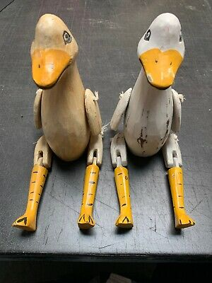 Vintage Hand Carved Wooden Jointed Shelf Sitting Pair Of Ducks.