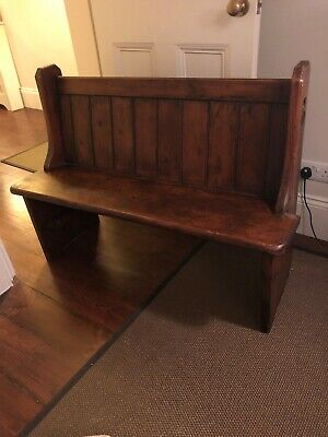 Antique Oak Church Pew With Bespoke Foam Seating Cushion And 3 Cushion Covers