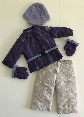 Retired American Girl Doll Ski Snowflake Play Suit Outfit Clothes Mittens Hat