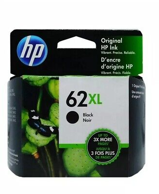 HP #62XL Black Ink Cartridge C2P05AN NEW GENUINE Ex 02/2021