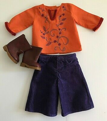 American Girl Doll Julie Casual Outfit Tunic Shirt Purple Gaucho Pants Boots
