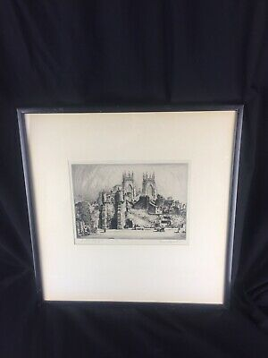 Old antique signed etching Bootham Bar York framed by Joseph Wilson large