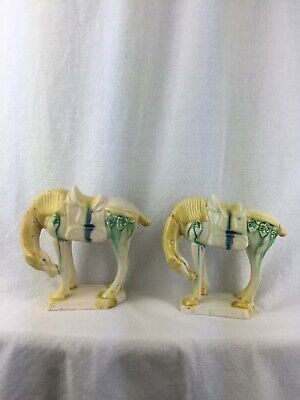 Pair Of Vintage Chinese Horse Ornaments Yellow