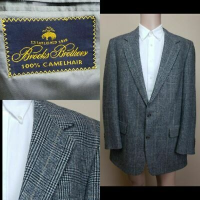 Vtg Brooks Brothers Pure Camelhair Houndstooth Plaid Double Vented Blazer Sz 44