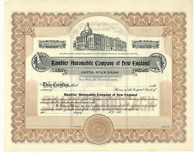 Rambler Automobile Company of New England. Stock Certificate. Massachusetts