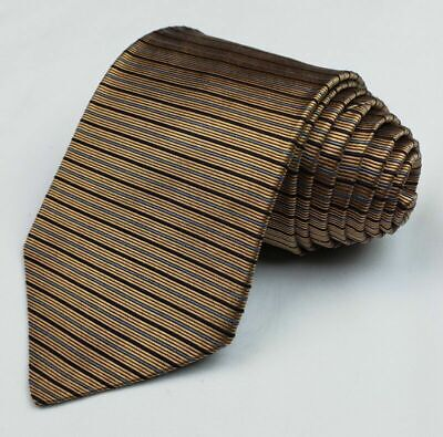 """Vtg Brooks Brothers Makers Mens Pure Silk Gold/Blue Striped Neck Tie 58 """""""