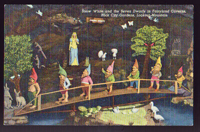 TENNESSEE TN Snow White Seven Dwarfs Rock City Cavern Lookout Mountain Postcard