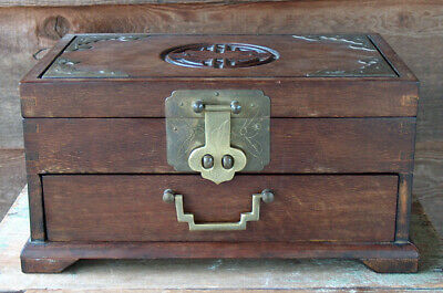 ESTATE Antique CHINESE WOOD & BRASS JEWELRY CHEST BOX Wooden Oriental Asian