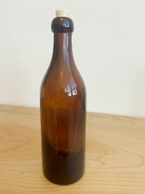 Vintage Antique Hand Blown Pretty Amber Bottle with Rounded Top OLD!