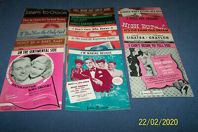 14 Pieces of Vintage Sheet Music From Movies, Records, Stage - 1930s, 40s & 50s
