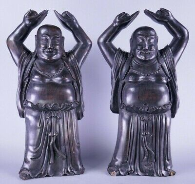 Fine Old 19th Century Chinese Pair Carved Hardwood Buddha Sculpture Scholar