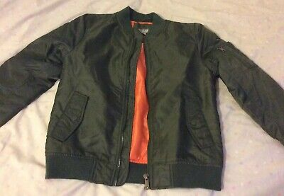 Boys Kahki Green Bomber Jacket Age 13 Years Brand New Without Tags