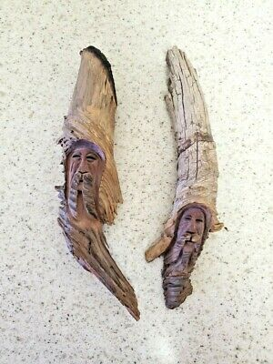 Hand Carved Mountain Men Plaques - Pair 10 Inch Signed Nic-91