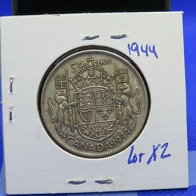 1944  Canadian Silver (80% Ag)  50 Cent Coin Lot X2: King George VII