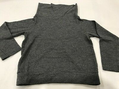 Comme des Garcons Tricot Boyish Crop Boxy Sweater Top Wool Ash Gray Funnel Neck