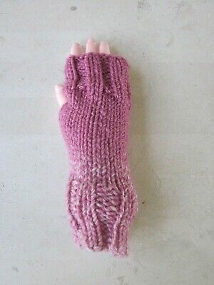Hand Knit Fingerless Gloves-Texting Peony Pink medium weight mittens